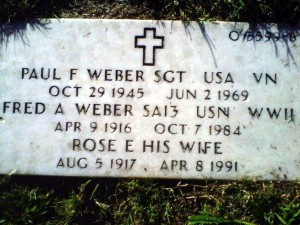 Marker for Paul and his Parents. Leslie Jones