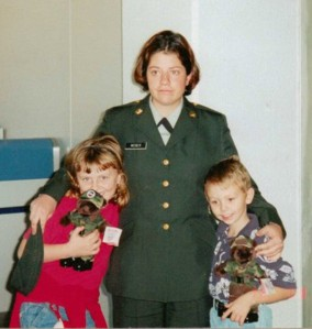 Leslie Jones with Paul's great neice and Nephew. Leslie joined the Army to following in Paul's and John's footsteps.
