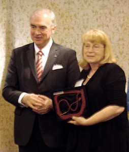 Belgium Ambassador presenting Carol with the Belgium Fourragere 1940