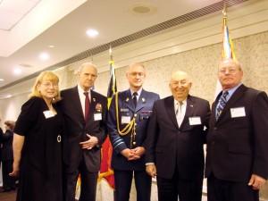 Carol, Belgium Ambassador Jan Matthysen, BG Mike Delobel, Hyman Slavin and me.
