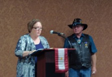 Anne Smith reading the History of the Gold Star Lapel Pin.