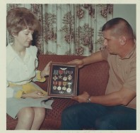 Frank Hiner's widow, Cleo being presented with Frank's medals.